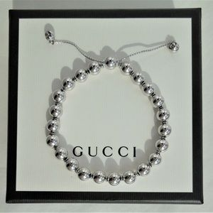 Gucci  Sterling Silver Beaded  Bracelet